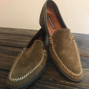 Sesto Meucci Olive Green Suede Pointed Loafers